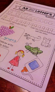 All About Letters pages: 1 page for each letter of the alphabet. Each page covers these skills:Tracing/Writing capital and lowercase letters, drawing a picture that begins with that letter, rainbow writing, and coloring pictures that begin with the letter