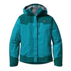 Patagonia Shelter Stone Jacket. I got this at the Outdoor Outlet in Appleton for 70 bucks in early 2011. It is incredible waterproof and super-breathable. I used it on a backpacking trip in the Beartooth Mountains in Montana on a rainy 'on-again-off-again' day and didn't need to take it off. No clamminess, nothin. Just wish it packed down a little smaller.