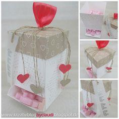 Anleitung für eine Spenderbox - von: Kreativ Blog by Claudi: Kreativ Durcheinander #3: mit und von Herzen 3d Paper Crafts, Diy Paper, Diy And Crafts, Valentine Crafts, Valentines, Punch, Cute Box, Craft Sale, Stamping Up