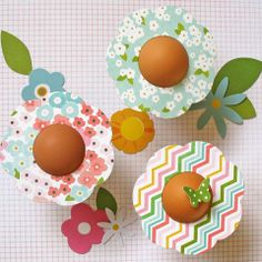 Egg Flowers by Kathy Martin for #Pebbles using the Garden Party collection.