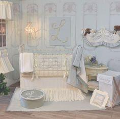 $285 Blue and Cream French Farmhouse inspired Crib Bedding  #nursery