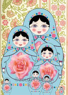 Matroyshka Russian Doll Plush Babushka Family 5 x by zouzoudesign, $9.00