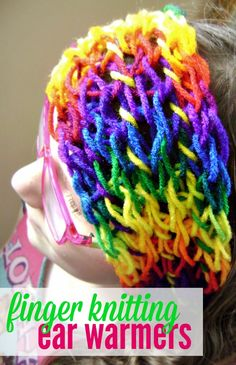 These finger knitting ear warmers are an easy craft project for kids and adults! It doesn't require any special stuff - it's a fun project for kids.
