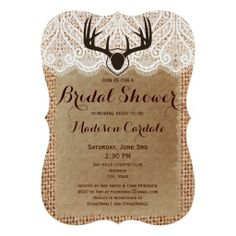 Rustic Burlap Deer Antlers Bridal Shower Invitations for a hunting theme bridal shower.