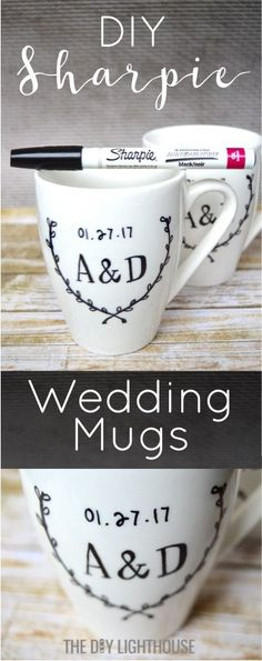 How to make DIY Sharpie mugs with the bride and groom 's initials and wedding date. DIY Sharpie wedding mugs is a cute and personalized wedding present craft idea. Use oil based Sharpie marker to write on mug for a DIY gift. Cute and homemade wedding present idea for a loved one or friend getting married. Special way to remember your wedding day. Cute Valentine's day or anniversary gift idea to your wife or husband.