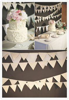 Love the cake topper(peonies!) and the bunting behind the table