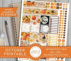 OCTOBER Happy Planner Monthly View Kit Mambi Stickers Halloween Planner Pumpkin…