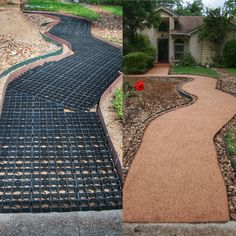 Landscape design and erosion control made simple and easy Gardening or landscape project coming up Use versigrid permeable pavers for decorative gravel or grass pathways. Driveway Landscaping, Outdoor Landscaping, Outdoor Gardens, Walkway, Permeable Driveway, Gravel Pathway, Diy Driveway, Landscaping Contractors, Gravel Driveway