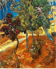 Vincent van Gogh:  Trees in the Asylum Garden (1889)
