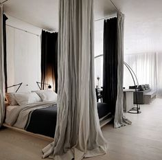 Blackout curtains on the inside, chiffon on the outside. Nice contrast. Keeps the sunlight out but the softness in.