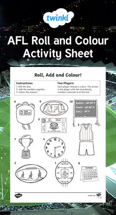 This simple but fun activity sheet is great for encouraging your children to practise addition using numbers up to 12. In pairs, have your children take it in turns to roll the dice and add the two numbers they get together. If there is an image on the sheet with their number on that hasn't yet been coloured, then they colour it in. The winner is the player with the most images in their colour at the end of the game. Australian Football League, The End Game, Fun Worksheets, Activity Sheets, Color Activities, Dice, Numbers, Encouragement, Pairs