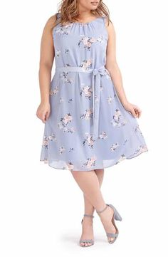 283a6ad994e MICHEL STUDIO Belted Floral Swing Dress (Plus Size) Blue Dresses