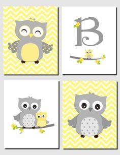 Yellow Gray Nursery Owl Nursery Decor Initial Monogram Baby Girl Kids Art Chevron Girls Room Owl Nursery Decor Set of 4 Prints or Canvas