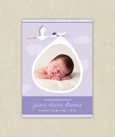 Printable Birth Announcements: Baby Boy or Girl Photo Stork Delivery
