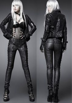 Punk Rock Nail Skull buttons Tights Man-made Leather Pants Trousers S M L XL XXL #PUNKRAVE #PUNK