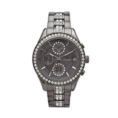 Jennifer Lopez Gunmetal Stainless Steel Crystal Chronograph Watch - Women