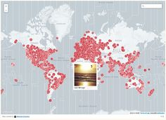 A Visualization of Sunrise and Sunset Photos Being Snapped Around the World - http://thedreamwithinpictures.com/blog/a-visualization-of-sunrise-and-sunset-photos-being-snapped-around-the-world
