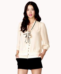 Tie-Front Gerogette Top   FOREVER21 - 2034801941
