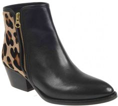 Leopard Print Black leather ankle boot