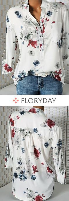 Floral Casual Collar Long Sleeve Blouses floral blouse blouses casual blouse collar long sleeve warm blouse casual tops stunning lovely blouses new style. Look Fashion, Autumn Fashion, Fashion Outfits, Womens Fashion, Fashion Art, Fashion Online, Fashion Tips, Fashion Trends, Pretty Outfits
