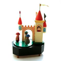 vintage wind up wooden musical toy