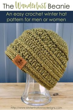 Crochet Beanie Design Wanderlust Beanie - These 14 crochet hat patterns for men are unique, fun to make and stylish. Pick up your hook and your favorite crochet beanie pattern and get stitching! Bonnet Crochet, Crochet Beanie Pattern, Crochet Patterns, Crochet Man Hat, Mens Beanie Crochet Pattern, Crochet Beanies For Men, Crochet Scarves For Men, Crochet Gloves, Slouchy Beanie Pattern