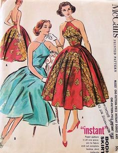 1950s EVENING 2 PC DRESS PATTERN HALTER STYLE TOP , FULL SKIRT McCALLS 3944