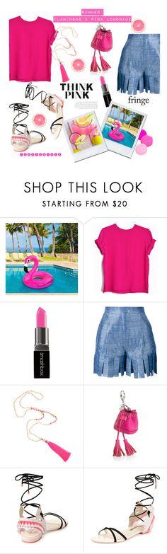 """Summertime: flamingos & pink lemonade....#contestentry #pink #fringe #shorts #sandals #flamingo #lemonade #polyvore"" by fashionlibra84 ❤ liked on Polyvore featuring Smashbox, Tata Naka, Rebecca Minkoff and Sophia Webster"