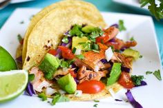 Salmon tacos with avocado pico de gallo