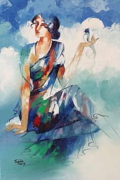 The Beauty WithinThe Beauty Within Figurative Oil painting was done with the palette knife on canvas by Sajida Hussain. Painting Corner, Mural Painting, Figure Painting, Painting Prints, Buddha Painting, Fruit Painting, Watercolor Paintings For Beginners, Watercolor Pictures, Dance Paintings