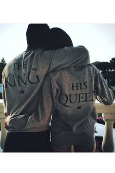 Fashion THE KING/HIS QUEEN Lovers Sweatshirt