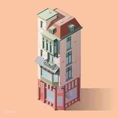 Affinity Designer in combination with Illustrator is awesome for isometric stuff. Made this building in half a day. : graphic_design