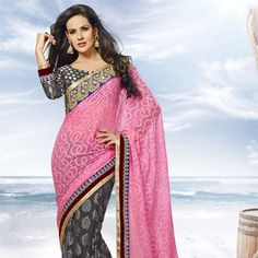Pink and Dark Grey Faux Georgette Jacquard Saree with Blouse