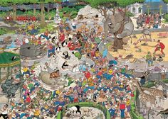 1000 pcs jigsaw puzzle: Jan van Haasteren - The Zoo (Cartoon, Animals) - Jumbo Zoo Art, Wheres Wally, Le Zoo, Puzzle Art, Hidden Pictures, Oeuvre D'art, Wallpaper S, 1000 Piece Jigsaw Puzzles, Retro