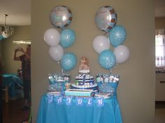 Table decoration I put together for my Godson's baby shower