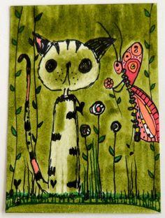 ACEO ORIGINAL CATS IN THE GARDEN #2 L. Brucato in Art   eBay