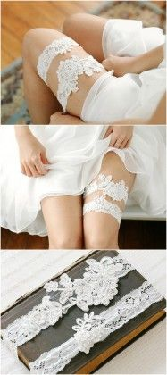 keepsake and tossing white lace wedding garters