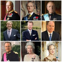 R4R Photo Spotlight: Sovereigns  King Harald V of Norway   King Carl XVI Gustaf of Sweden   King Juan Carlos I of Spain   King Willem-Alexander I of the Netherlands* *as of April 30, 2013  Grand Duke Henri of Luxembourg   Prince Albert II of Monaco  King Albert II of Belgium    Queen Elizabeth II of the United Kingdom   Queen Margrethe II of Denmark
