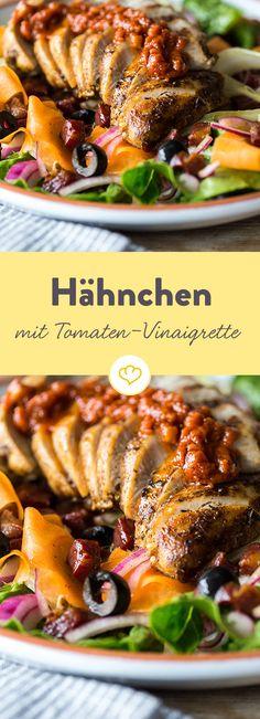 """""""Blackened"""" Gewürzmischung verleiht Hähnchenbrust ein wunderbar rauchiges Aroma. Mit Pancetta und säuerlich-scharfem Meerrettich einfach unwiderstehlich!"""