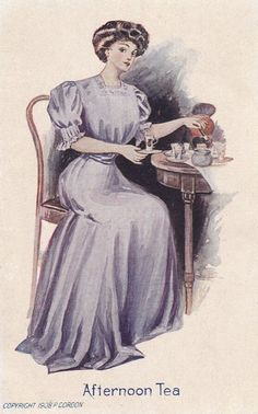 Tea, One Lump: In this 1908 postcard, the tea cup is as wasp-waisted as the hostess, who wields the sugar tongs in a refined manner.