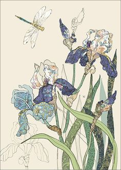 BugArt Collage ~ Bearded Irises. Collage *NEW* Designed by Jane Crowther.