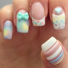 Cute pastel nails with 3d bow- different styles mix Instagram photo by @Cassandra Dowman Dowman Guild Ranson