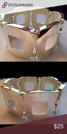 Silver stretch bracelet. Silver stretch bracelet in great condition. (Second picture show some small scratches.) Jewelry Bracelets