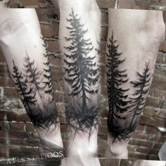 Silhouette trees (red cedars?).  Arlin French, Uncle Arlo's A Plus Tattoos, Vancouver, BC.