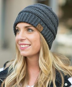Look at this Olivia & Jane Metallic Charcoal Ribbed Beanie on #zulily today!