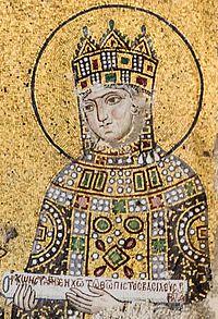 Zoe mosaic Hagia Sophia.jpg-A imperatriz Zoé num mosaico na. Basílica de Santa Sofia-wikipédia