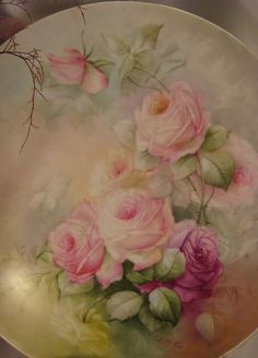 """""""BEAUTIFUL ROMANTIC SOFT ROSES"""" Large 13-5/8"""" Antique Hand Painted from oldbeginningsantiques on Ruby Lane Antique Paint, Antique Roses, China Painting, Artist Painting, Chicken Art, Hand Painted Plates, Beautiful Paintings, Antiques, Painted Roses"""
