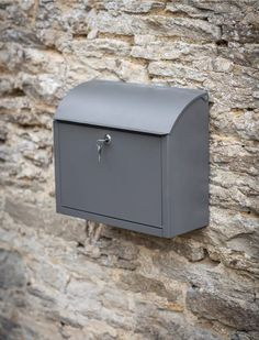 Large Wall Mounted Outdoor Charcoal Lock Mailbox Outside Steel Post Letter Box Wall Mount Mailbox, Mounted Mailbox, Scandinavian Garden, Scandinavian Style, Wooden Garden Ornaments, Exterior Wood Paint, Exterior Doors, Wand Organizer, Post Box Wall Mounted