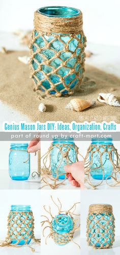 Genius Mason Jars DIY: Ideas, Organization, Crafts collection by craft-mart.com DIY Coastal Theme Fishnet Mason Jar #masonjars #masonjarsdiy #diyprojects #masonjarsdecor #masonjarscrafts - LOVE this Mason Jar DIY idea! Perfect Summer project!