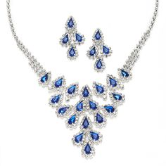 Stunning Pear Rhinestone Cascade Necklace Set Available In Black, Royal And Purple $43.00